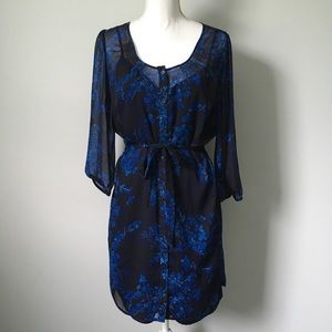 Express Navy Chiffon Dress